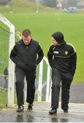 3 April 2016; Donegal manager Rory Gallagher, right, and selector Jack Cooney, make their way back to the dressing-room before the game. Allianz Football League Division 1, Round 7, Monaghan v Donegal. St Mary's Park, Castleblayney, Co. Monaghan. Picture credit: Dáire Brennan / SPORTSFILE