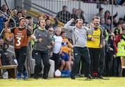 3 April 2016; The Clare backroom team, from left to right, coach Aengus O'Brien, selector Louis Mulqueen, manager Davy Fitzgerald, and selector Donal Og Cusack celebrate after Aaron Shanagher scored their second goal. Allianz Hurling League Division 1 Quarter-Final, Clare v Tipperary. Cusack Park, Ennis, Co. Clare. Picture credit: Diarmuid Greene / SPORTSFILE