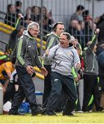 3 April 2016; Clare manager Davy Fitzgerald celebrates alongside selectors Michael Browne and Louis Mulqueen at the final whistle after victory over Tipperary. Allianz Hurling League Division 1 Quarter-Final, Clare v Tipperary. Cusack Park, Ennis, Co. Clare. Picture credit: Diarmuid Greene / SPORTSFILE