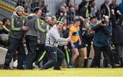 3 April 2016; Clare manager Davy Fitzgerald celebrates alongside selectors Louis Mulqueen and Michael Browne at the final whistle after victory over Tipperary. Allianz Hurling League Division 1 Quarter-Final, Clare v Tipperary. Cusack Park, Ennis, Co. Clare. Picture credit: Diarmuid Greene / SPORTSFILE