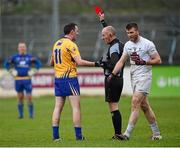 3 April 2016; David Tubridy, Clare, receives a red card from referee Cormac Reilly, Meath. Allianz Football League, Division 3, Round 7, Kildare v Clare. St Conleth's Park, Newbridge, Co. Kildare. Picture credit: Stephen McCarthy / SPORTSFILE