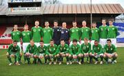 6 April 2010; The Republic of Ireland squad, back row, left to right, Jimmy Keohane, Padraic Ormsby, Cian Bolger, Gavin Gunning, Ian McLoughlin, Gerald Hanley, Conor Henderson, Shaun Timmins, Ryan Brennan, Shane McEleney, Rob Kiernan, front rown, left to right, Conor Hourihane, Thomas McBride, Gary Burke, Daniel Kearns, Richard Towell, Aaron Doran, Charlie Collins, Jamie Adam, Ronan Murray. U19 Friendly, Republic of Ireland v Poland, Tolka Park, Dublin. Picture credit: Barry Cregg / SPORTSFILE