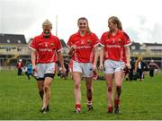 3 April 2016; Cork players from left, Deirdre O'Reilly, Annie Walsh and Roisin Phelan, after the game. Lidl Ladies Football National League Division 1, Galway v Cork. St Jarlath's Stadium, Tuam, Co. Galway. Picture credit: Sam Barnes / SPORTSFILE