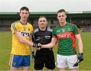 2 April 2016; Referee James Molloy with Taghd O'Rourke, Roscommon captain, left, and Stephen Coen, Mayo captain, right. EirGrid Connacht GAA Football U21 Championship Final. Markievicz Park, Sligo.  Picture credit: Oliver McVeigh / SPORTSFILE