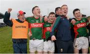 2 April 2016; Michael Solan, Mayo manager, celebrates with his team after the game. EirGrid Connacht GAA Football U21 Championship Final. Markievicz Park, Sligo.  Picture credit: Oliver McVeigh / SPORTSFILE