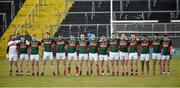 2 April 2016; The Mayo team stand for the National Anthem. EirGrid Connacht GAA Football U21 Championship Final. Markievicz Park, Sligo. Picture credit: Oliver McVeigh / SPORTSFILE