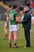 3 April 2016; Mayo manager Stephen Rochford with Cillian O'Connor. Allianz Football League Division 1 Round 7, Mayo v Down. Elverys MacHale Park, Castlebar, Co. Mayo. Picture credit: David Maher / SPORTSFILE