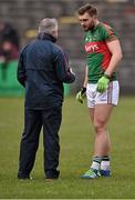 3 April 2016; Mayo manager Stephen Rochford with Aidan O'Shea. Allianz Football League Division 1 Round 7, Mayo v Down. Elverys MacHale Park, Castlebar, Co. Mayo. Picture credit: David Maher / SPORTSFILE