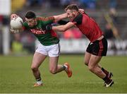 3 April 2016; Evan Regan, Mayo, in action against Darren O'Hagan, Down. Allianz Football League Division 1 Round 7, Mayo v Down. Elverys MacHale Park, Castlebar, Co. Mayo. Picture credit: David Maher / SPORTSFILE