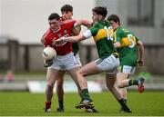 7 April 2016; Sean O'Donoghue, Cork, in action against Micheal Burnes and Eanna O Conchúir, right, Kerry. EirGrid Munster GAA Football U21 Championship Final, Kerry v Cork. Austin Stack Park, Tralee, Co Kerry. Picture credit: Diarmuid Greene / SPORTSFILE
