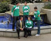 15 April 2010; Chris Jones, Performance Consultant, with athletes, from left, Jamie Costin, 50k, David Campbell, 800m, Ciara Mageean, 800m, and Brian Greegan, 400m, at the launch of the Athletics Ireland High Performance Plan. Conrad Hotel, Earlsfort Terrace, Dublin. Picture credit: Pat Murphy / SPORTSFILE