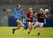 10 April 2016; Olwen Carey, Dublin, in action against Sarah Gormally, Galway. Lidl Ladies Football National League, Division 1, Dublin v Galway, Parnell Park, Dublin. Picture credit: Sam Barnes / SPORTSFILE