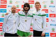 10 April 2016; Winner of the National 10K Championships, Mick Clohisey, centre, Raheny Shamrock AC, second placed Kevin Maunsell, left, Clonmel AC, and third placed Brandon Hargreaves, DSD AC. The SPAR Great Ireland Run / National 10K Championships. Phoenix Park, Dublin. Picture credit: Tomás Greally / SPORTSFILE