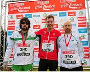 10 April 2016; Winner of the SPAR Great Ireland Run, Andy Maud, centre, England, second placed Mick Clohisey, left, Raheny Shamrock AC, and third placed Kevin Maunsell, Clonmel AC. The SPAR Great Ireland Run / National 10K Championships. Phoenix Park, Dublin. Picture credit: Tomás Greally / SPORTSFILE