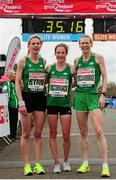 10 April 2016; Winner of the SPAR Great Ireland Run and the National 10K Championships,  Fionnuala McCormack, centre, Ireland, second placed Deirdre Byrne, left, Ireland, and third placed Maria McCambridge. The SPAR Great Ireland Run / National 10K Championships. Phoenix Park, Dublin. Picture credit: Tomás Greally / SPORTSFILE