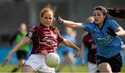 10 April 2016; Olivia Divilly, Galway, in action against Olwen Carey, Dublin. Lidl Ladies Football National League, Division 1, Dublin v Galway, Parnell Park, Dublin. Picture credit: Sam Barnes / SPORTSFILE