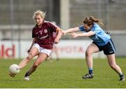 10 April 2016; Megan Glynn, Galway, in action against Muireann Ní Scanaill, Dublin. Lidl Ladies Football National League, Division 1, Dublin v Galway, Parnell Park, Dublin. Picture credit: Sam Barnes / SPORTSFILE