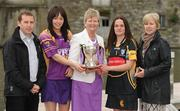 19 April 2010; At a captain's day photocall ahead of the 2010 National Camogie League Division 1 and 2 Finals, are Division 1 finalists Wexford and Kilkenny, from left, JJ Doyle manager and captain Una Leacy, Wexford, Joan O'Flynn, President, Cumann Camogaiochta na nGael, Anne Dalton, captain and Anne Downey, manager, Kilkenny. Both finals take place in Semple Stadium, Thurles, on Saturday next, 24th April, with the Division 2 Final at 2pm and the Division 1 Final at 4pm. Maldron Hotel, Grand Canal, Dublin. Picture credit: Brendan Moran / SPORTSFILE