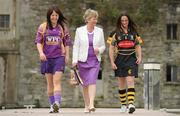 19 April 2010; At a captain's day photocall ahead of the 2010 National Camogie League Division 1 and 2 Finals, Division 1 captains Una Leacy, left, Wexford, and Anne Dalton, Kilkenny, with Joan O'Flynn, President, Cumann Camogaiochta na nGael. Both finals take place in Semple Stadium, Thurles, on Saturday next, 24th April, with the Division 2 Final at 2pm and the Division 1 Final at 4pm. Maldron Hotel, Grand Canal, Dublin. Picture credit: Brendan Moran / SPORTSFILE