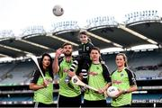 12 April 2016; TV star Moone Boy, David Rawle, joined a host of GAA stars today at Croke Park to launch Kellogg's GAA Cúl Camps 2016. The summer camps attract over 100,000 children and are hosted in more than 1,000 locations nationwide. Costing just Ä55 for a full week of fun, coaching and a free kit, Kellogg's is on a mission for the promotion of nutrition coupled with physical activity. Sign up for Kellogg's GAA Cúl Camps at www.kelloggsculcamps.gaa.ie. Pictured are Kellogg's GAA Cúl Camps ambassadors, Cork camogie player Aisling Thompson, Mayo footballer Aidan O'Shea, Kilkenny hurler TJ Reid and Armagh ladies footballer Aimee Mackin with 9 year old Alice Brannigan. Croke Park, Dublin. Picture credit: Ramsey Cardy / SPORTSFILE