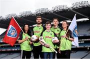 12 April 2016; TV star Moone Boy, David Rawle, centre, joined a host of GAA stars today at Croke Park to launch Kellogg's GAA Cúl Camps 2016. The summer camps attract over 100,000 children and are hosted in more than 1,000 locations nationwide. Costing just Ä55 for a full week of fun, coaching and a free kit, Kelloggís is on a mission for the promotion of nutrition coupled with physical activity. Sign up for Kellogg's GAA Cúl Camps at www.kelloggsculcamps.gaa.ie. Pictured are, from left, Cork camogie player Aisling Thompson, Mayo footballer Aidan O'Shea, Kilkenny hurler TJ Reid and Armagh ladies footballer Aimee Mackin. Croke Park, Dublin. Picture credit: Ramsey Cardy / SPORTSFILE