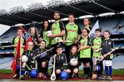 12 April 2016; TV star Moone Boy, David Rawle, joined a host of GAA stars today at Croke Park to launch Kellogg's GAA Cúl Camps 2016. The summer camps attract over 100,000 children and are hosted in more than 1,000 locations nationwide. Costing just Ä55 for a full week of fun, coaching and a free kit, Kelloggís is on a mission for the promotion of nutrition coupled with physical activity. Sign up for Kellogg's GAA Cúl Camps at www.kelloggsculcamps.gaa.ie. Pictured are Cork camogie player Aisling Thompson, Mayo footballer Aidan O'Shea, Kilkenny hurler TJ Reid and Armagh ladies footballer Aimee Mackin with children from Gaelscoil Choláiste Mhuire. Croke Park, Dublin. Picture credit: Ramsey Cardy / SPORTSFILE