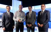 12 April 2016; Former Republic of Ireland International Richard Dunne pictured with regular TV3 analyst Kevin Kilbane, anchor Tommy Martin, left, and Kieran Holden, 2nd from left, Head of Sport, TV3 Group, in The Virgin Media TV3 HD Studio tonight. The former Manchester City captain Richard Dunne was TV3's special studio guest for Tuesday's UEFA Champions League quarter-final 2nd leg between Manchester City and Paris St Germain. Dunne, a four time player of the year at City, joined TV3 regulars Kevin Kilbane, Brian Kerr and host Tommy Martin for studio analysis, with Neil Lennon and David McIntyre on commentary duty at the Etihad Stadium. TV3 – The home of Tuesday night Champions League action. TV3 Sony HD Studio Building, TV3 Studios, Ballymount, Dublin. Picture credit: Brendan Moran / SPORTSFILE