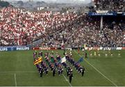 21 September 1986; The Kerry and Tyrone teams parade behind the Artane School of Music Band. Kerry v Tyrone, All-Ireland Football Final, Croke Park, Dublin. Picture credit; Ray McManus / SPORTSFILE