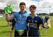 16 April 2016; Dublin team-mates Kevin Callaghan, left, and goalkeeper Evan Comerford after the match. Electric Ireland Leinster GAA Football Minor Championship First Round, Dublin v Offaly. Parnell Park, Dublin.  Picture credit: Cody Glenn / SPORTSFILE