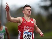16 April 2016; Marcus Lawler, IT Carlow, salutes after winning the 200M event. Irish Universities Athletic Association Track & Field Championships 2016, Day 1. Morton Stadium, Santry, Co. Dublin. Picture credit: Oliver McVeigh / SPORTSFILE