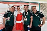 16 April 2016; Brendan Irvine, Ireland, celebrates after beating Daniel Asenov, Bulgaria, in their Men's Flyweight 52kg Box-Off bout with coaches, from left, Eddie Bolger, John Conlan, and Zaur Antia. AIBA 2016 European Olympic Qualification Event. Samsun, Turkey. Picture credit: Paul Mohan / SPORTSFILE