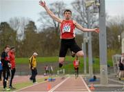 16 April 2016; Callan Byrne, IT Carlow, during the Mens triple jump event event. Irish Universities Athletic Association Track & Field Championships 2016, Day 1. Morton Stadium, Santry, Co. Dublin. Picture credit: Oliver McVeigh / SPORTSFILE