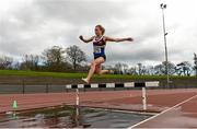 16 April 2016; Michelle Finn, University Limerick, in fulll flight at the water jump on her way to winning the Ladies 3000M steeplechase event. Irish Universities Athletic Association Track & Field Championships 2016, Day 1. Morton Stadium, Santry, Co. Dublin. Picture credit: Oliver McVeigh / SPORTSFILE