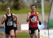 16 April 2016; Brian Kirwan, IT Carlow, right, winner of Mens 3000M steeplechase from Michael Carey, DCU in second. Irish Universities Athletic Association Track & Field Championships 2016, Day 1. Morton Stadium, Santry, Co. Dublin. Picture credit: Oliver McVeigh / SPORTSFILE