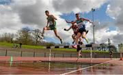 16 April 2016; Leaders in the mens 3000M steeplechase event. Irish Universities Athletic Association Track & Field Championships 2016, Day 1. Morton Stadium, Santry, Co. Dublin. Picture credit: Oliver McVeigh / SPORTSFILE