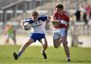 16 April 2016; Fearghal McMahon, Monaghan, in action against Kieran Histon, Cork. Eirgrid GAA Football Under 21 All-Ireland Championship semi-final, Cork v Monaghan. O'Connor Park, Tullamore, Co. Offaly.  Picture credit: Brendan Moran / SPORTSFILE