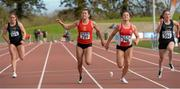 16 April 2016; Phil Healy, being pipped by her sister Joan Healy, both UCC to win the Ladies 100M event, during the AAA event. Irish Universities Athletic Association Track & Field Championships 2016, Day 1. Morton Stadium, Santry, Co. Dublin. Picture credit: Oliver McVeigh / SPORTSFILE