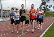 16 April 2016; Conor Duncan, DCU, leading the Mens 800M  event. Irish Universities Athletic Association Track & Field Championships 2016, Day 1. Morton Stadium, Santry, Co. Dublin. Picture credit: Oliver McVeigh / SPORTSFILE