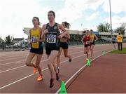 16 April 2016; Rachael Smyth, NUI Maynooth, leading the Womens 3000M event. Irish Universities Athletic Association Track & Field Championships 2016, Day 1. Morton Stadium, Santry, Co. Dublin. Picture credit: Oliver McVeigh / SPORTSFILE