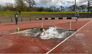 16 April 2016; Anthony Bowen, University Limerick, takes an early dip in his first ever 3000M steeplechase event. Irish Universities Athletic Association Track & Field Championships 2016, Day 1. Morton Stadium, Santry, Co. Dublin. Picture credit: Oliver McVeigh / SPORTSFILE