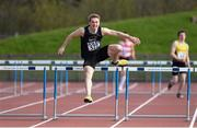 16 April 2016; Evan McGuire, DCU, crossing the final hurdle on route to winning the Mens 400M hurdles event. Irish Universities Athletic Association Track & Field Championships 2016, Day 1. Morton Stadium, Santry, Co. Dublin. Picture credit: Oliver McVeigh / SPORTSFILE