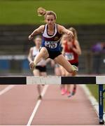 16 April 2016; Michelle Finn, University Limerick, jumps a hurdle on her way to winning the Ladies 3000M steeplechase event. Irish Universities Athletic Association Track & Field Championships 2016, Day 1. Morton Stadium, Santry, Co. Dublin. Picture credit: Oliver McVeigh / SPORTSFILE
