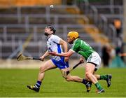 17 April 2016; Jamie Barron, Waterford, in action against Paul Browne, Limerick. Allianz Hurling League Division 1 Semi-Final, Waterford v Limerick. Semple Stadium, Thurles, Co. Tipperary. Picture credit: Stephen McCarthy / SPORTSFILE