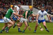 17 April 2016; Tom Morrissey and James Ryan, Limerick, in action against Shane Bennett, left, Kevin Moran, and Jake Dillon, Waterford. Allianz Hurling League, Division 1, semi-final, Waterford v Limerick. Semple Stadium, Thurles, Co. Tipperary. Picture credit: Ray McManus / SPORTSFILE