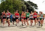 17 April 2016; A general view of the start of the Master Women's relay race, during the Glo Health AAI National Road Relays. Raheny, Dublin. Picture credit : Tomás Greally / SPORTSFILE