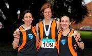 17 April 2016; Winners of the Master Women's relay race, from left, Ashling Smith, Suzanna Foot and Carol Costello, from Slí Cualann AC, Co. Wicklow. The Glo Health AAI National Road Relays. Raheny, Dublin. Picture credit : Tomás Greally /  SPORTSFILE
