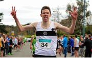 17 April 2016; Emmet O'Briain, Donore Harriers AC, Dublin, crosses the line to win the Master Men's relay race during the Glo Health AAI National Road Relays. Raheny, Dublin. Picture credit : Tomás Greally / SPORTSFILE