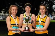17 April 2016; Winners of the Senior Women's relay race, from left, Michele Finn, Lizzie Lee and Carol Finn, Leevale AC, Co. Cork, during the Glo Health AAI National Road Relays. Raheny, Dublin. Picture credit : Tomás Greally /  SPORTSFILE