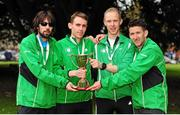 17 April 2016; Winners of the Senior Men's relay race, from left, Mick Clohisey, Kieran Kelly, Mark Kirwan and Daire Bermingham, Raheny Shamrock AC, Dublin, during the Glo Health AAI National Road Relays. Raheny, Dublin. Picture credit : Tomás Greally / SPORTSFILE