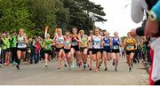 17 April 2016; A general view during the start of the Senior Women's relay race during the Glo Health AAI National Road Relays. Raheny, Dublin. Picture credit : Tomás Greally / SPORTSFILE